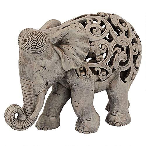 Design Toscano Anjan the Elephant Indian Decor Jali Animal Statue, 12 Inch, Polyresin, Brown Stone (Elephant Sculpture Resin)
