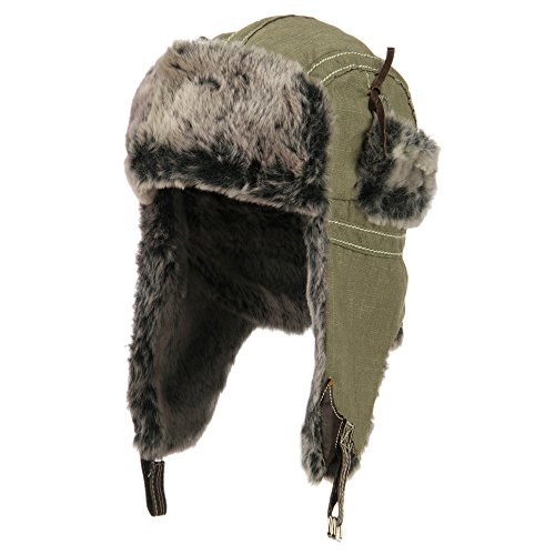 Chambray Faux Fur Trooper Hat - Khaki OSFM