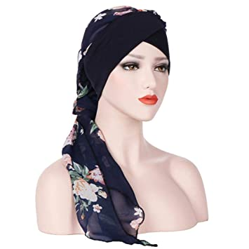 f54fd02f7bf5 Moonuy Bohême Femmes Musulman Stretch Turban Chapeau Chemo Cap Perte de  cheveux Écharpe Tête Wrap Hijab