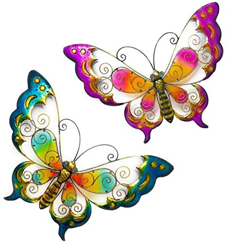 Yard Art Set - D.I.D. Large Butterfly Nature Inspired Colorful Metal Iron Stained Glass Garden Decor Wall Yard Art Sculptures For Indoor Outdoor Set of 2 (20