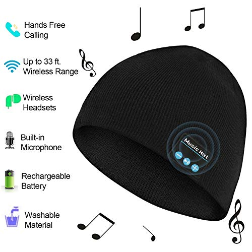 Bluetooth Hat Beanie Men Women, Wireless Music Hat with Built-in Stereo Speakers Fit for Outdoor Sports, Christmas(Black)