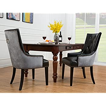 Amazon Com Iconic Home Cadence Dining Side Chair Button