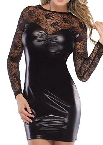 HO-Ersoka mini vestido de vinilio y encaje a mangas largas, negro negro