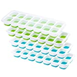 OMorc Ice Cube Trays 4 Pack, Easy-Release Silicone and Flexible 14-Ice Trays with Spill-Resistant Removable Lid, LFGB Certified & BPA Free, Stackable Durable and Dishwasher Safe - Blue & Green