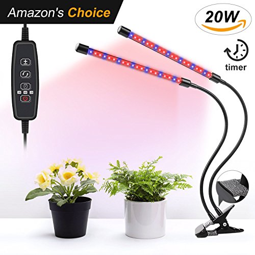 UNIWA Dual Head Plant LED Grow Light Bulb Lamp 20W 40 LEDs USB House Indoor 3 Timing Modes Function Horticultural Flourescent Growing Strip Blue Red UV Growth Lights for Veg Plants Kits