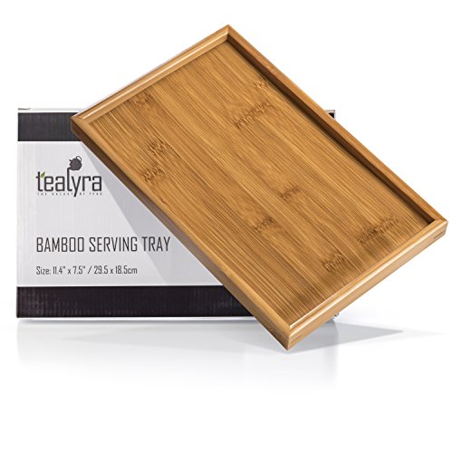 Tealyra - Bamboo Serving Tray 11.6in x7.5in - Gongfu Style Tea Tabletop - Wooden Breakfast Serving Plate - 29.5 x 19.5cm
