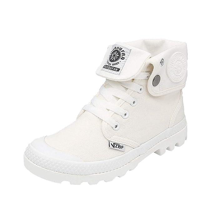 Zapatillas para Mujer by BaZhaHei, Zapatos de Mujer con Cordones Planos con Cordones y Tobillo Militar ...