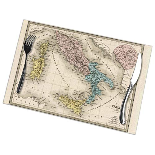 TakeiGagold Antique Map Of Ancient Italy And Rome 1860 Set Of 6 For Dining Table Washable Placemat Non-Slip Heat Resistant Kitchen Table Mats Easy To Clean - 18