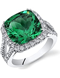 6.50 Carats Cushion Cut Simulated Emerald Ring Sterling Silver Sizes 5 to 9