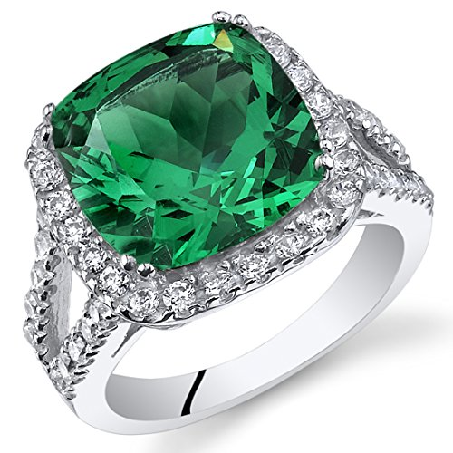 6.50 Carats Cushion Cut Simulated Emerald Ring Sterling Silver Size 5
