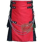 Black Fashion Wedding Ring Kilt With Red Front Apron - Utility Kilts (38'')