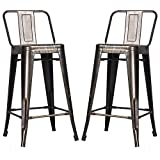 Merax Low Back Indoor and Outdoor Metal chair Barstool Set of 2 (Golden Black) For Sale
