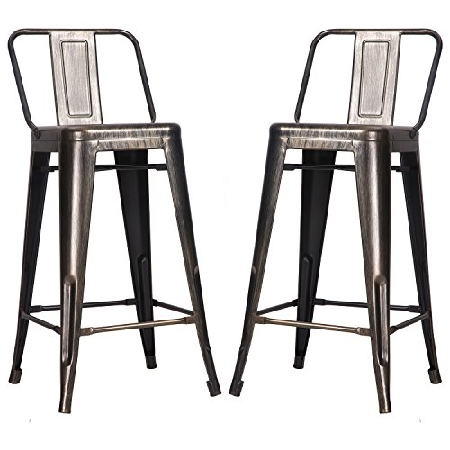 Low Back Bar Stool (Merax Low Back Indoor and Outdoor Metal chair Barstool Set of 2 (Golden Black))