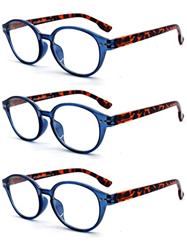 EYE-ZOOM 3 Pairs Classic Oval Style Reading Glasses with Spring Hinge Comfort Fit for Men and Women Choose Your Magnification, Navy Blue, +1.75 - Shaped Men Head Oval