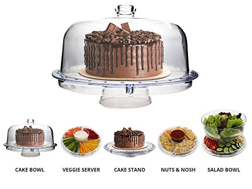 Homeries Multi-Purpose 6 in 1 Cake Stand with Dome Lid - Multifunctional Serving Platter and Cake Plate - Use as Salad Bowl/Veggie Platter/Punch bowl/Desert Platter/Nachos & Salsa Plate (Cakes Plates For)