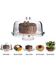 Homeries Multi-Purpose 6 in 1 Cake Stand with Dome Lid - Multifunctional Serving Platter and Cake Plate - Use as Salad Bowl/Veggie Platter/Punch bowl/Desert Platter/Nachos & Salsa Plate