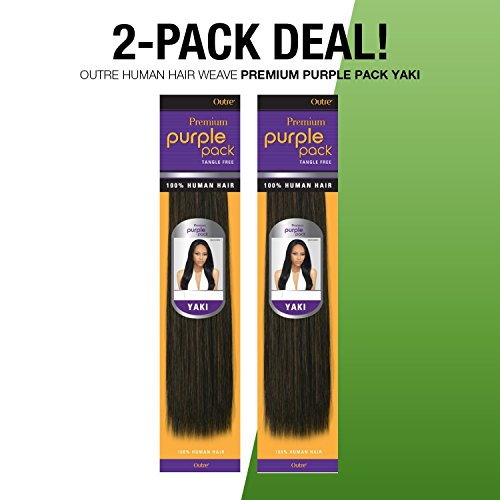 (2-PACK DEALS ! Outre Human Hair Weave Premium Purple Pack Yaki (10