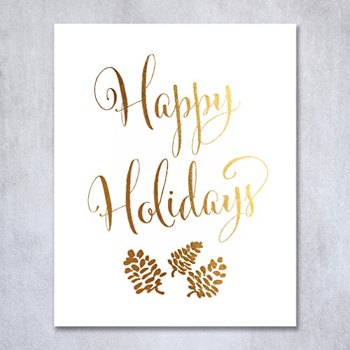Happy Holidays Gold Foil Print Poster Christmas Art Pinecone Winter Holiday Metallic Gold Decor 5 inches x 7 inches B32 (Pine Cone Poster compare prices)