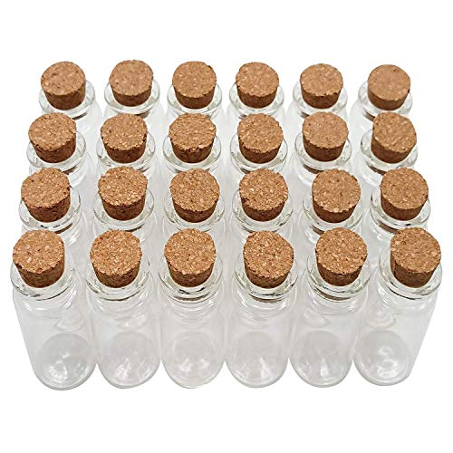 Axe Sickle 48PCS Cork Stoppers Glass Bottles DIY Decoration Mini Glass Bottles Favors 10ml Mini Vials Cork, Message Glass Bottle Vial Cork, Small Glass Bottles Jars Corks for Wedding Party Favors.