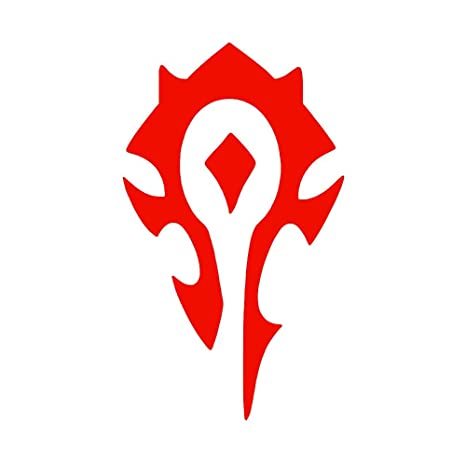 Horde World of Warcraft Symbol [Pick Any Color] Vinyl Transfer Sticker  Decal for Laptop/Car/Truck/Window/Bumper (3in x 1 8in (Laptop Size), Red)