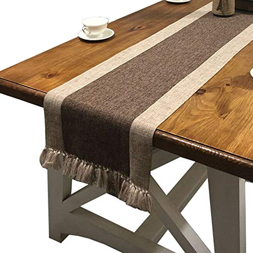 PHNAM Table Runner with Tassels 87 Inches Long Linen Cotton Coffee Dining Table Cloth Runners Non Slip for Home Kitchen Party Wedding Decorations, Machine Washable (Brown, 15 x 87 ()