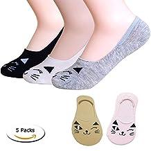 Ankle No Show Socks, Women Girl Ladies Cute Low Cut Cotton Cat Socks for Flats