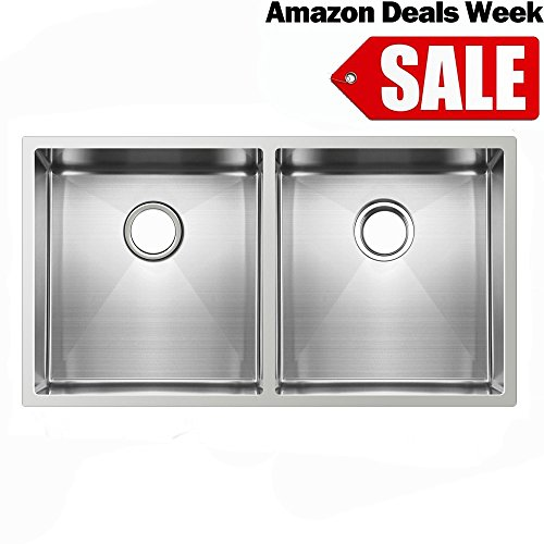 Ufaucet Commercial 33 Inch 16 Gauge 10 Inch Deep Apron Undermount Double Bowl Stainless Steel Sink For Kitchen,Handmake 304 Stainless Farmer Sink