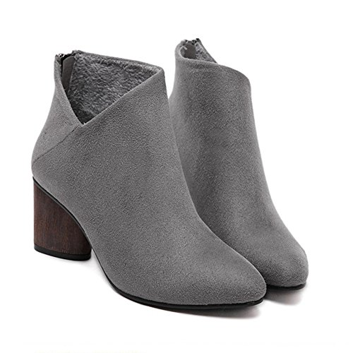 GIY Women Winter Fur Lined Ankle Booties - Fashion High Chunky Heel Warm Short Snow Boots for Women Grey e3o5K