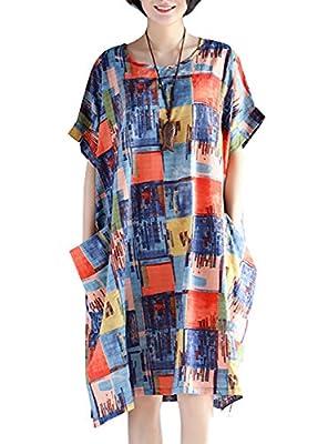 ELLAZHU Women Summer Plus Size Print Short Sleeves Dress