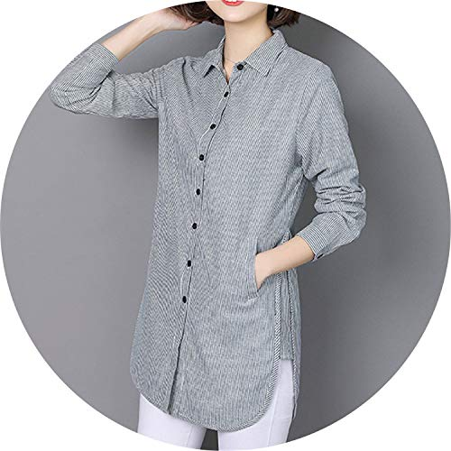 Women Striped Blouse Shirt Casual Loose Style Shirt Plus Size Spring Autumn Office Ladies Clothing Tops,Gray,XXL]()