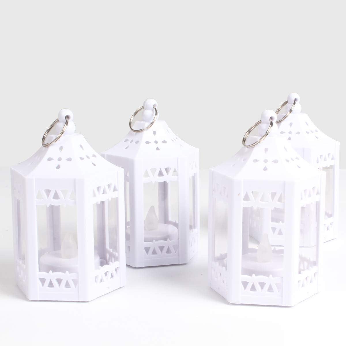 Mini white lantern centerpieces