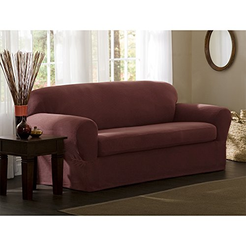 Maytex Stretch Reeves 2-Piece Slipcover, Loveseat, Red