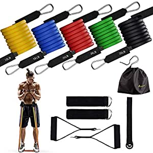 Portzon Unisex Youth , Workout Bands, Exercise Bands Door Anchor Handle Resistance Training, Physical Therapy, Home Workouts, Convenient, Durable, Stack-able Up to 100 lbs Resistance Band Set, (11 PCS)