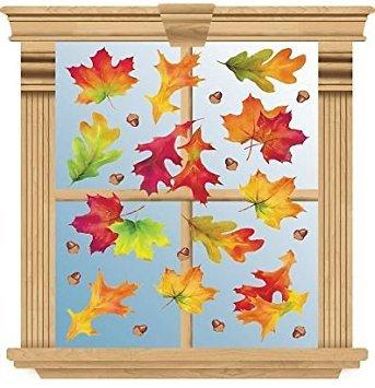 Fall Reusable Window Clings ~ Multicolor Fall Leaves and Acorns (12 Pre-cut Clings, 1 Sheet)