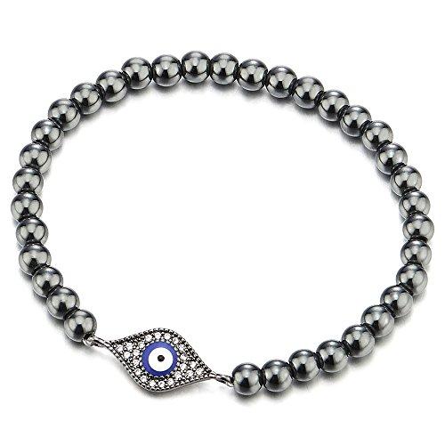 (COOLSTEELANDBEYOND Black Beads Bracelet for Women Girls Men with Cubic Zirconia Protection Evil Eye)