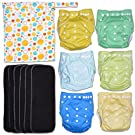 Ocean Fizz 13-Piece Baby Gift Set - Pack of 6 Cloth Diapers, 6 Bamboo Charcoal Inserts and WetDry Bag, Baby Gift All in One Cloth Diapers Set F