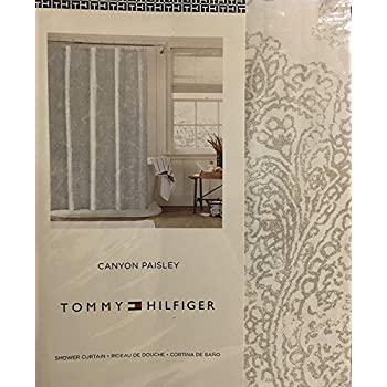 Amazon.com: Tommy Hilfiger Canyon Paisley Shower Curtain - Silver ...