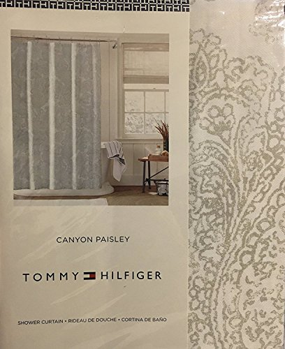 Tommy Hilfiger Canyon Paisley Shower Curtain - Silver Gray on White -72