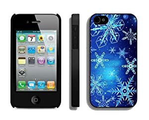 Provide Personalized Customized Christmas Blue Snowflake Black iPhone 4 4S Case 1