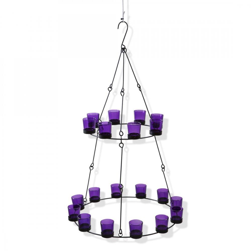 Boutique Camping Kronleuchter 2 Ebenen – Violett Glas