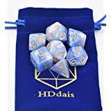DND Dice Set Blue Pearl Dice for Dungeons and Dragons MTG RPG Games with Bag