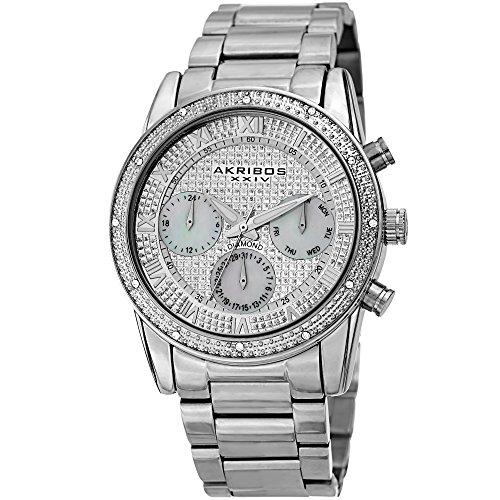 - Akribos XXIV Silver Bracelet Watch for Men – Mother of Pearl, Quartz – AK1040SS