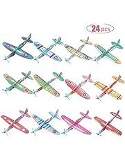 FORMIZON 24-Delige Vliegtuigjes, Verschillende Uitvoeringen Vliegend Foam Zweefvliegtuig, Zweefvliegtuigen Piepschuimvliegtuigen, Zweefvliegtuigen voor Verjaardagsfeestje voor Kinderen, Buitenshuis