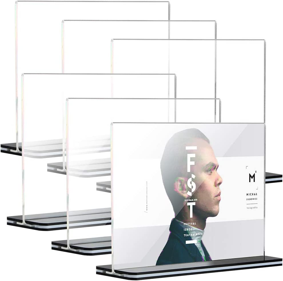 [6 Pack] 5x7 inch Office Table Sign Display Holder for Trade Show Exhibition, Tomorotec T-Shape Black Base Double-Sided Menu Dispaly, Slant Ad Photo Frame Brochure Holder, Clear Acrylic (Landscape)