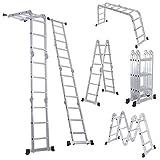 12.5FT EN131 330LB Multi Purpose Step Platform Aluminum Folding Scaffold Ladder by Ladder