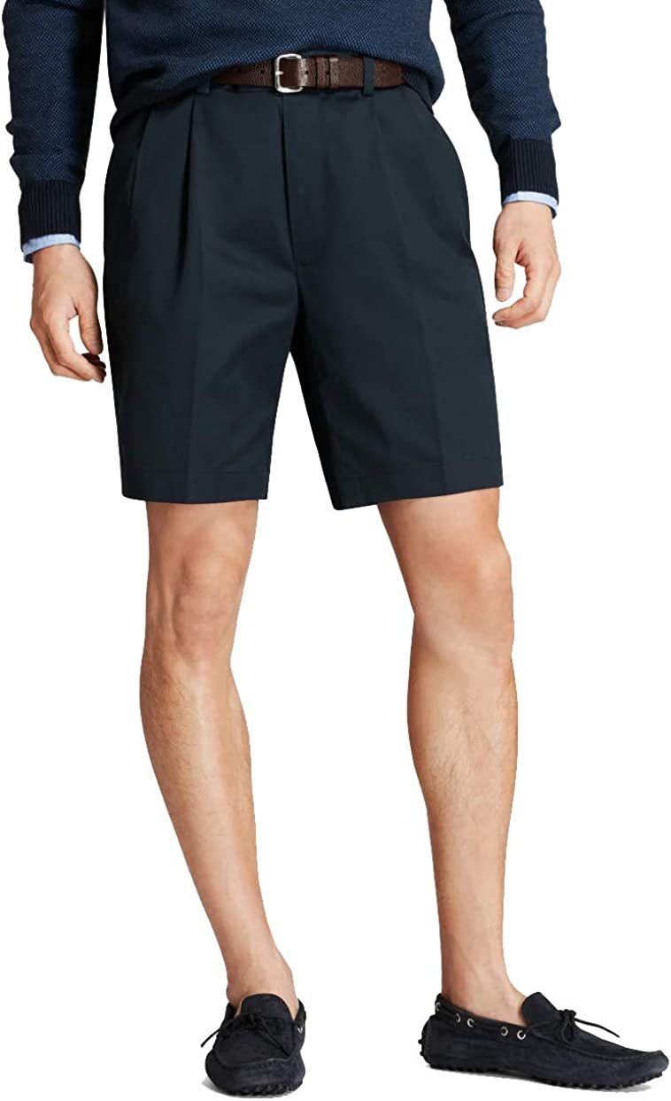 Brooks Brothers Men's 30280 Pleated Front Light Weight Chino Shorts, Navy