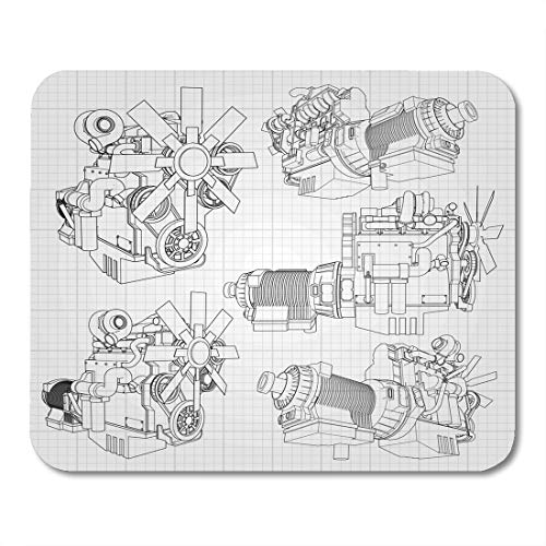 Boszina Mouse Pads White Car Big Diesel Engine with The Truck Depicted in Contour Lines on Graph of Black Grey Gearbox Mouse Pad for notebooks,Desktop Computers mats 9.5