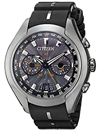 Eco-Drive Satellite Wave-Air Perpetual Titanium Case Rubber Strap Gray Tone Dial Day and Date Displays