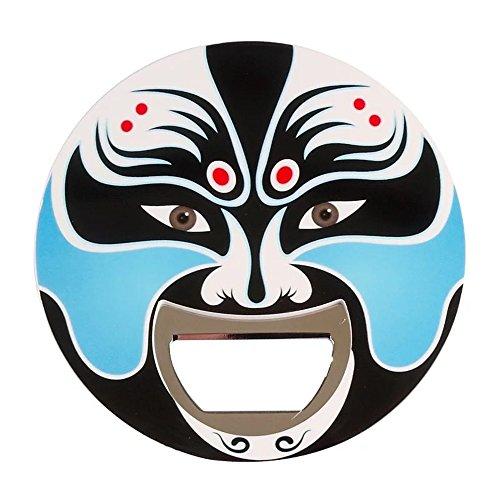 Colorful Chinese Traditional Culture Art Beijing Opera Facial Mask Beer Bottle Opener&Refrigerator Fridge Magnets (blue) (Masks Chinese Opera Design)