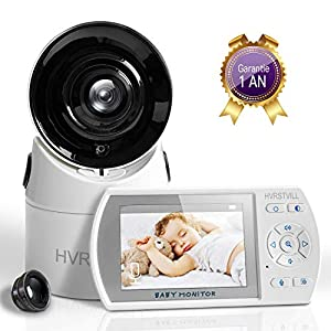 HVRSTVILL Babyphone Video Caméra, 3.5″ HD Moniteur Bébé Sans Fil avec Rotation 355°, Vision Nocturne, Communication Bidirectionnelle, Surveillance de la Température, Longue Portée, Rechargeable
